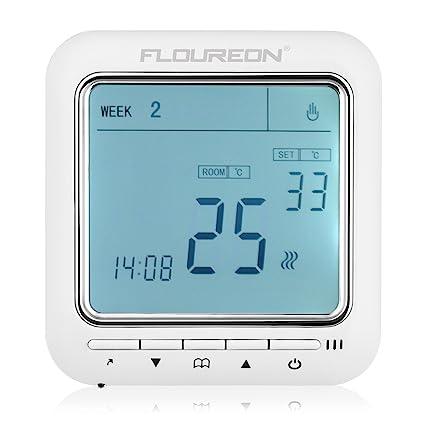 FLOUREON 8900 Digital sala calefacción termostato controlador de temperatura con pantalla táctil LCD programable semanal para