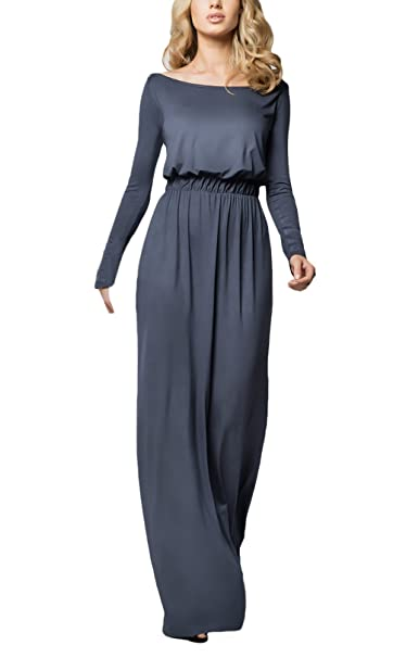 Saoye Fashion Vestidos Mujer Manga Larga Cuello Redondo Anchos Alto Cintura Elegantes Niñas Ropa Sencillos Vintage Casual Primavera Otoño Vestidos Largos ...