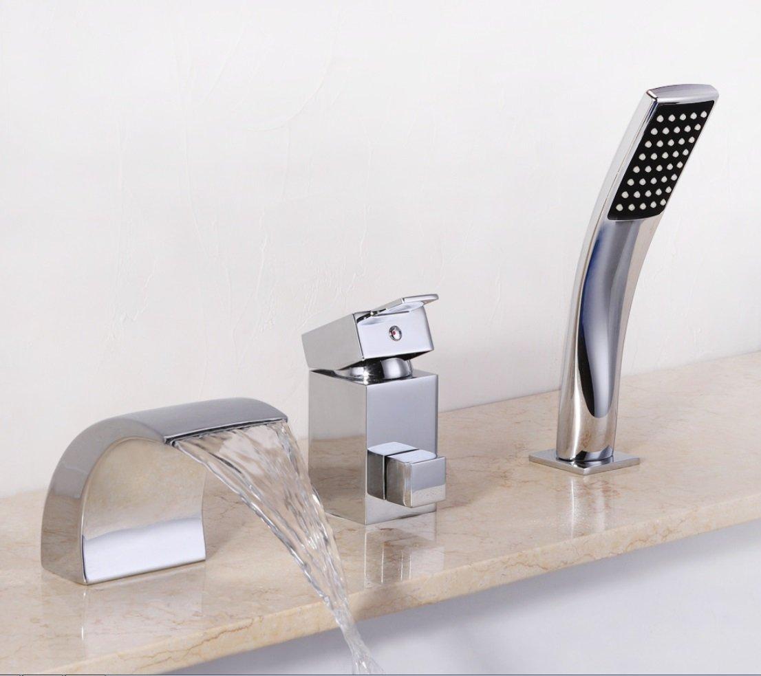 GAOXP Kupfer-LED Wasserfall heiß und Kalt Wasserhahn Dusche Set europäischen Badewanne Split Dreiteilige Wasserhahn