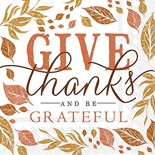 Ideal Home Range 20 Count Cocktail Napkins, Give Thanks