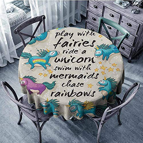 Mahogany Finish Beige Marble - Cartoon Premium Tablecloth Mythical Unicorns with Stars and Rainbow Legendary Creature Kids Theme Print Spill-Proof and Water D39 Inch Beige Teal Blue
