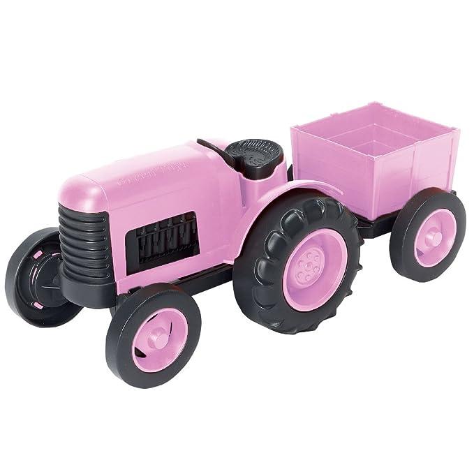 Green Toys Tractor Rosa con Remolque Desmontable: Amazon.es: Juguetes y juegos