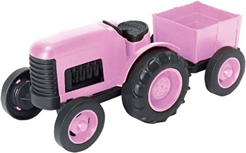 """Green Toys Tractor Vehicle Toy, Pink, 11.75"""" x 5.4"""" x 4.8"""""""