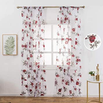 WUBODTI 2 Panels Of Floral Printed Semi Sheer