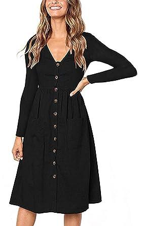 b8c8f61368 Womens V Neck Dresses Long Sleeve Button Down Swing Midi Skater Dress with  Pockets (Black