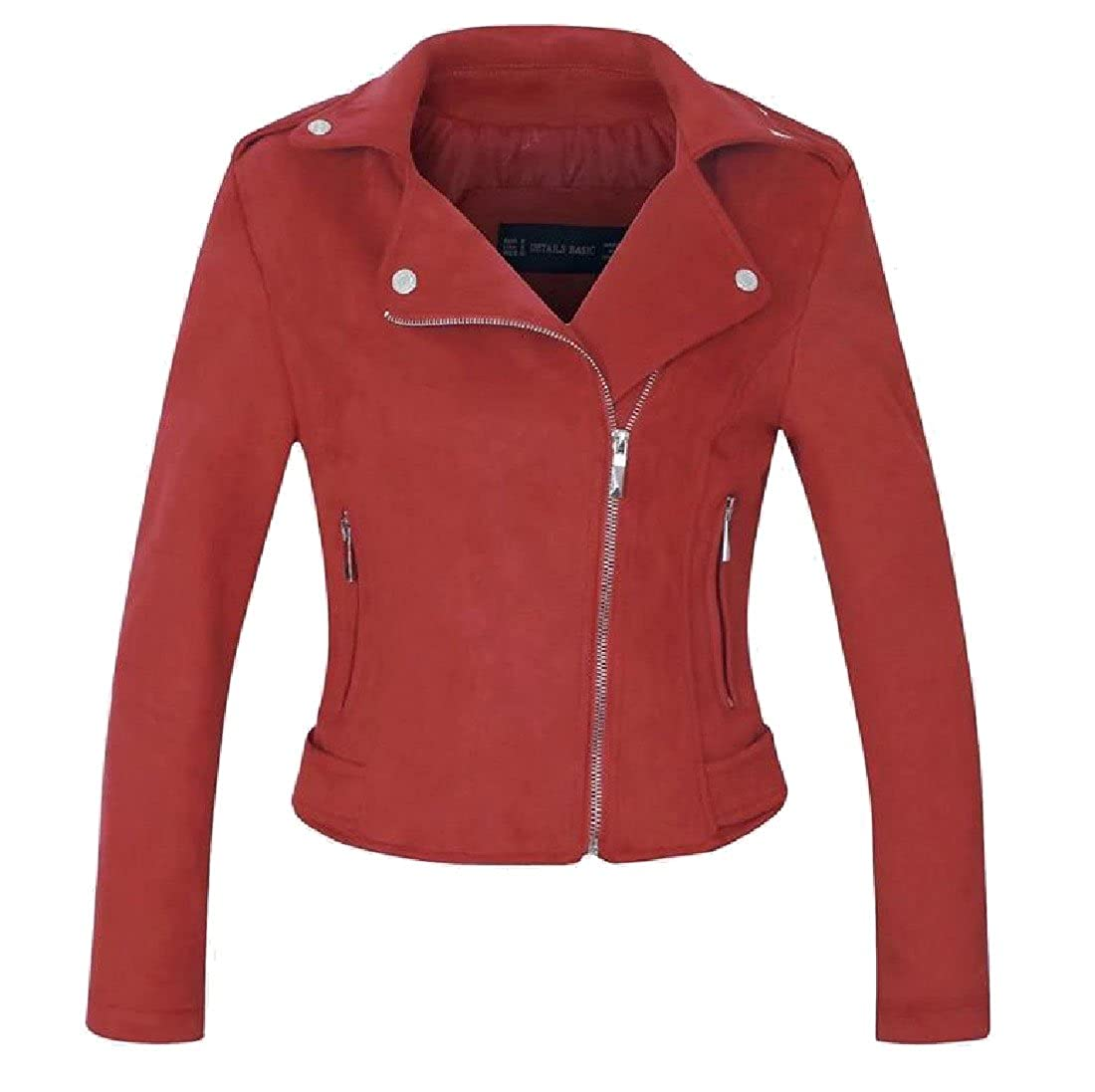 Sheng Xi Women's Pure Color PU Leather Zip Lapel Short Suit Jacket Tops