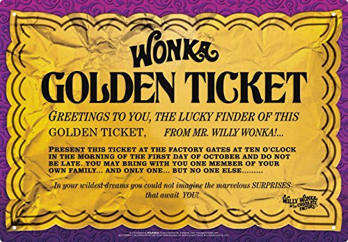 Aquarius Willy Wonka Golden Ticket Tin Sign by Aquarius