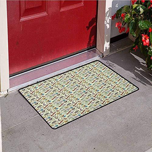 (GloriaJohnson Music Universal Door mat Drums Fun Keyboard Icons Guitar Tempo Harp MP3 Playing Boombox Gjettoblaster Graphic Door mat Floor Decoration W15.7 x L23.6 Inch Multicolor)