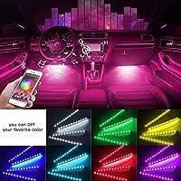 [2021 UPGRADED] Car Interior Lights WIth App Control 4pcs Million Color 72 LED Multicolor Music Car LED Strip Lights Car…