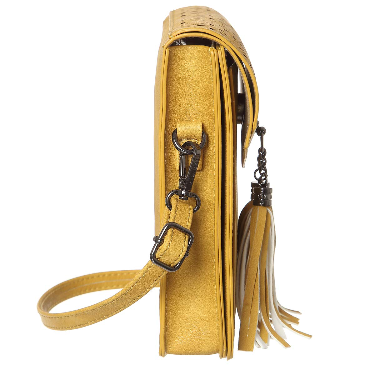 MINICAT Fringe Thicher Pocket Small Crossbody Bags Cell Phone Purse Wallet For Women With Credit Card Slots(Yellow) by MINICAT (Image #3)