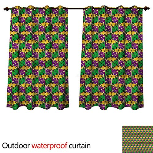 cobeDecor Abstract Outdoor Curtains for Patio Sheer Geometric Cube Square W63 x L72(160cm x 183cm) ()