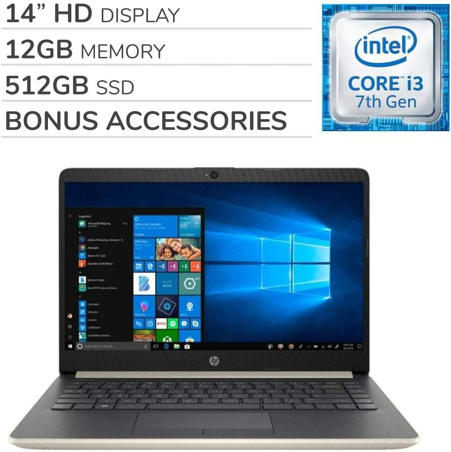 HP Pavilion 2019 Premium 14 inch HD Laptop Notebook Computer, 2-Core Intel Core i3-7100U 2.4 GHz, 12GB RAM, 512GB SSD, Wi-Fi, Bluetooth, Webcam, HDMI, No DVD, Windows 10 S Mode, Bonus Accessories