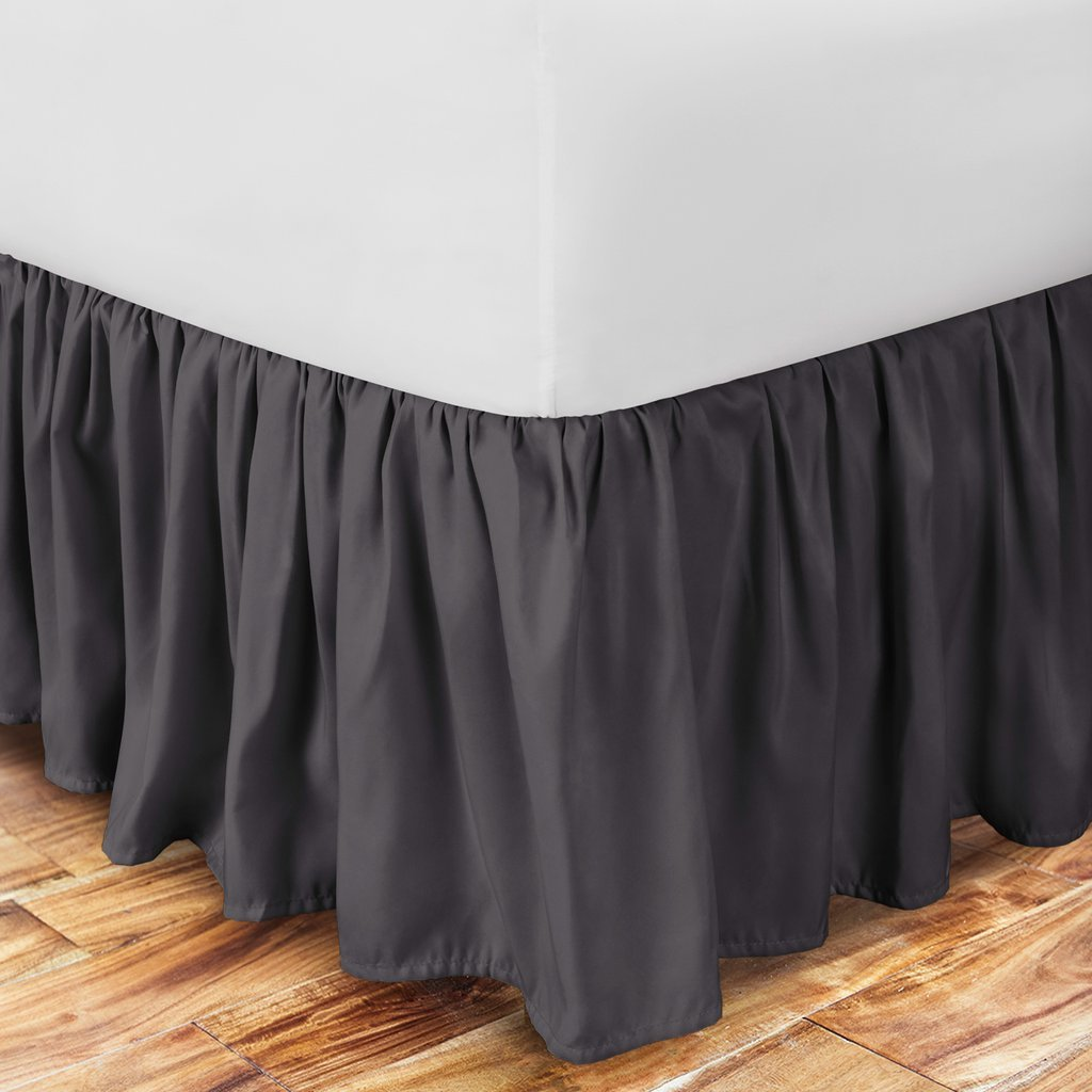 Black 1500 Series Luxury Brushed Microfiber w//Bamboo Blend Treatment Hypoallergenic Dust Ruffle w// 15 Drop Zen Home Luxury Ruffled Bed Skirt Cal King Eco-Friendly