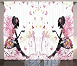 Ambesonne Girls Curtains by, Fairy Girl with Wings in a Floral Dress Magical Fantasy Garden Flying Butterflies, Living Room Bedroom Window Drapes 2 Panel Set, 108 W X 84 L Inches, Multicolor Review
