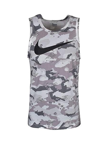 Dark Grey//Black//White,Small Nike Mens Dry Camo Swoosh Tank Top