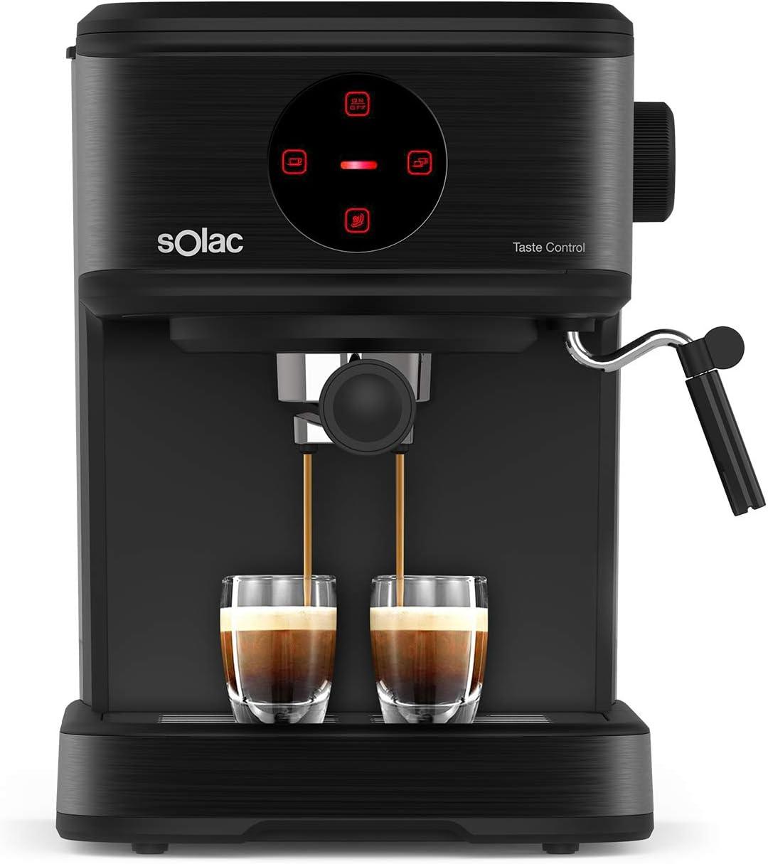 Solac CE4498 Taste Control - Cafetera espresso táctil, 20bar, Double Cream, Espresso y Cappuccino, 850W, parada automática, 1 o 2 cafés, Monodosis/molido, Vaporizador de acero inoxidable, 1.5 L, negra