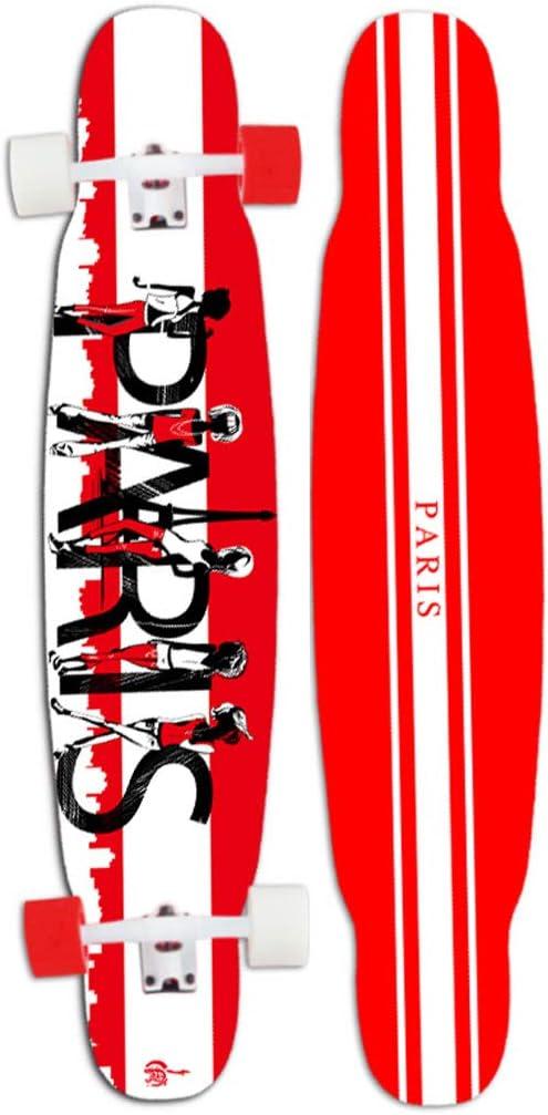スケートボード 46インチプロのダンススケートボードフリースタイル軽量7層メープルと高反発Puホイールスルードロップスルースケートボード(最大330LB) アウトドア #5