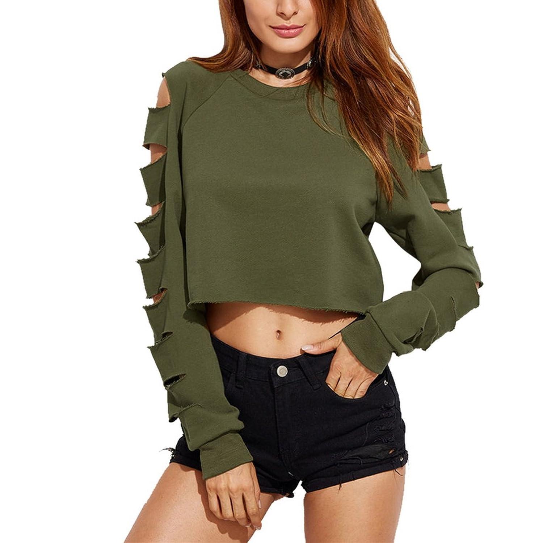 6e39a444b58790 Shujin Damen Mode Straße Schulterfrei Pullover Distressed Cropped Top Kurz  Sweatershirt Cut Out Hohle Loch Langarmshirt · Kleid mini Damen Kolylong T- Shirt ...