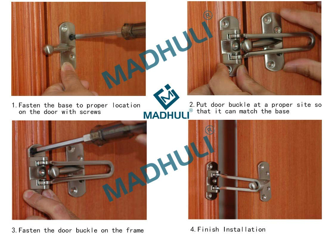 Heavy Duty Security U Swing Bar Door Lock 2 Pack |Front Door Security Latches for Home, Hotel, Office with Highly Strong Stainless Steel | Latch with Satin Finished by Infinity by Madhuli