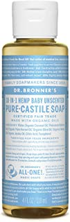 product image for Dr. Bronner's - Pure-Castile Liquid Soap (Baby Unscented, 4 ounce) - Made with Organic Oils, 18-in-1 Uses: Face, Hair, Laundry and Dishes, For Sensitive Skin and Babies, No Added Fragrance, Vegan