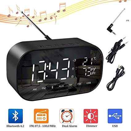 Despertador Digital, SUMGOTT Reloj de Mesa con Radio FM y Altavoz Bluetooth, Alarmas Dual