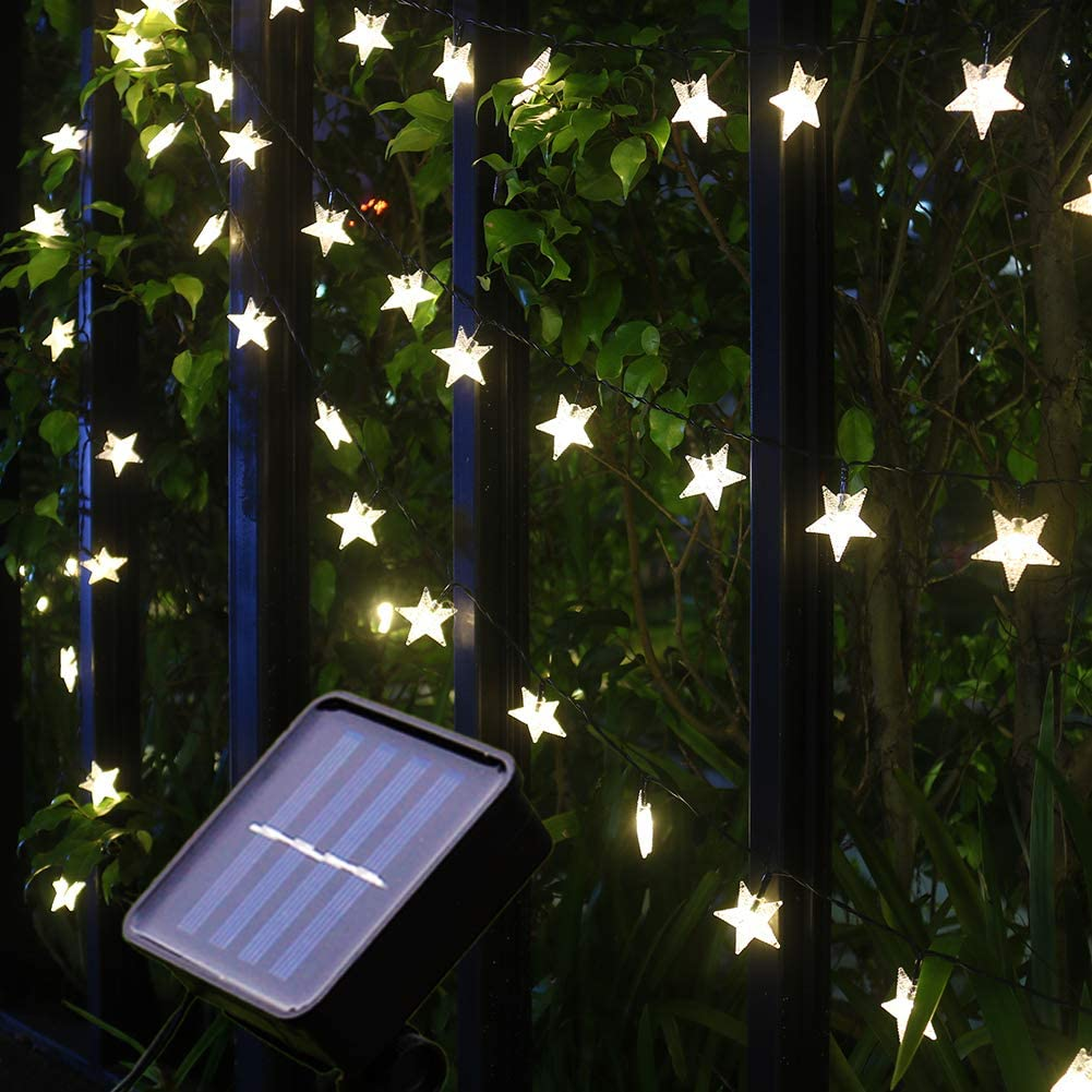 Mankinlu Solar Star String Lights,Outdoor Solar Powered Star Shaped Twinkle Fairy String Lights, 24.5ft 50LEDS 8Modes Waterproof Christmas Starry Lights String for Gardens,Patio,Lawn,Fence,Warm White.