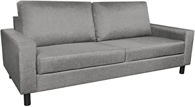 Festnight 3-Seater Fabric Sofa Couch with Wooden Frame Armrest Upholstered Sofa Thickly Padded Cushions Sofa Grey Home Waiting Room Office Furniture