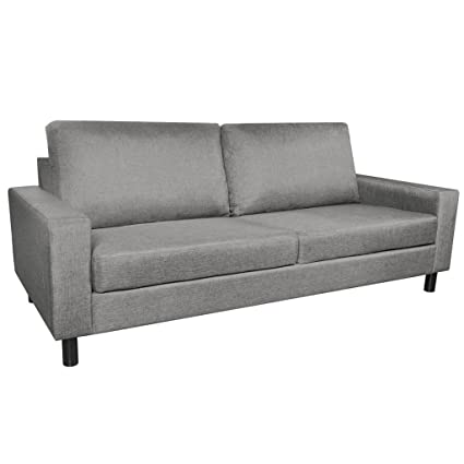 Amazon.com: Festnight 3-Seater Fabric Sofa Couch with Wooden Frame ...