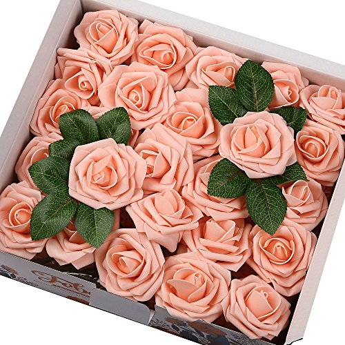 Febou Artificial Flowers, 50pcs Real Touch Artificial Foam Roses Decoration DIY for Wedding Bridesmaid Bridal Bouquets Centerpieces, Party Decoration, Home Display, Office Decor (Standard Type, Pink)