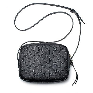 f809658fcf66f7 Amazon.com: Gucci Bree GG Supreme Camera Case Black Leather Bag Handbag  Authentic Italy New: Shoes