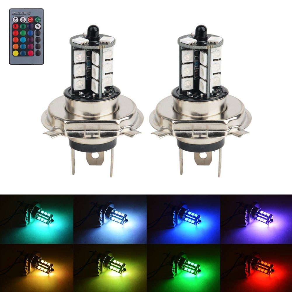 Amazon com: H4 9003 HB2 LED RGB Fog Lights Bulb Amber Yellow