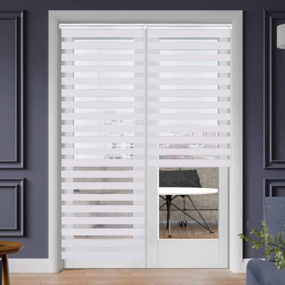 SEEYE Zebra Shade Blinds Horizontal Window Curtain Day and Night Blind Dual Layer Shades Easy to Install 29.5