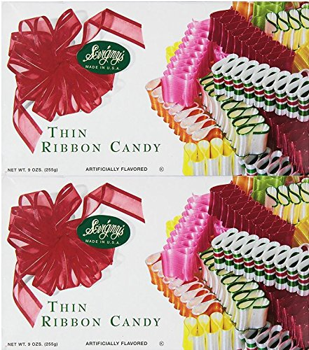 Sevigny's Thin Ribbon Candy - Made in USA. 9 Oz. Box, (2 Pack)