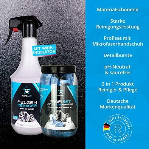 Gorillar Felgenreiniger Profi Set 1 Liter Sprühflasche Mikrofaser Felgenhandschuh Latexhandschuhe Felgenbürste Und Anti Schmutz Dose Auto
