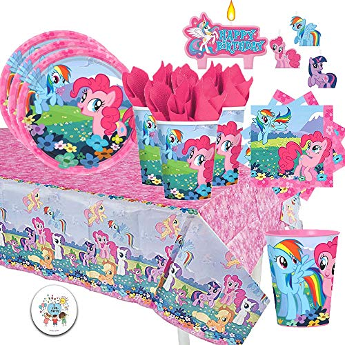 My Little Pony Deluxe Birthday Party Supply Pack for 16 Includes Dessert Plates, Beverage Napkins, Cups, My Little Pony Birthday Candles, a Favor Cup, and an Exclusive Birthday Button by Another Dream -
