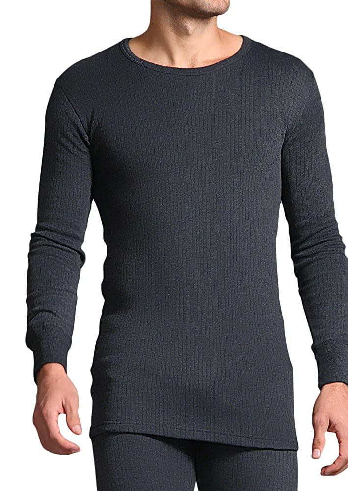 Heat Holders Mens Cotton Thermal Vest Long Sleeved Charcoal XXL 47-49 chest