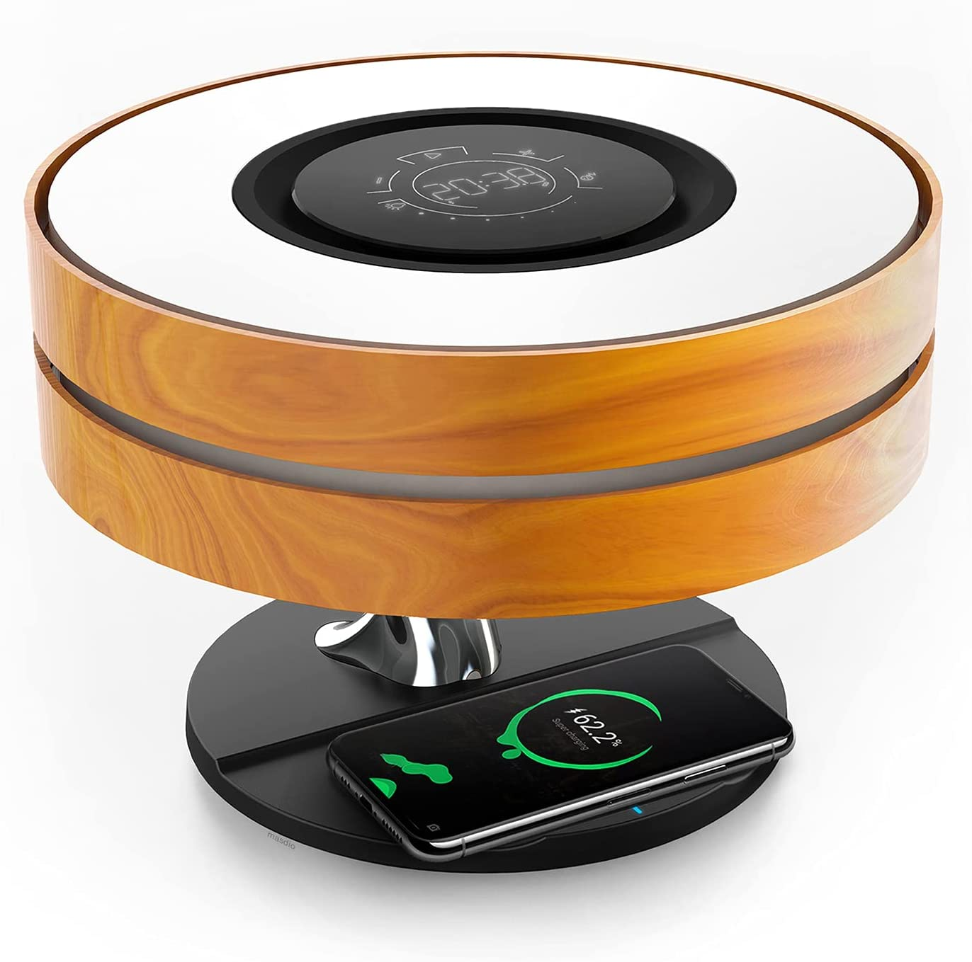 Horizon Bedside Lamp with 10W Wireless Charger and TWS Bluetooth Speaker, Night Lamp Ambient Lamp with Digital Clock, Stepless Dimming and Sleep Mode for Nightstand