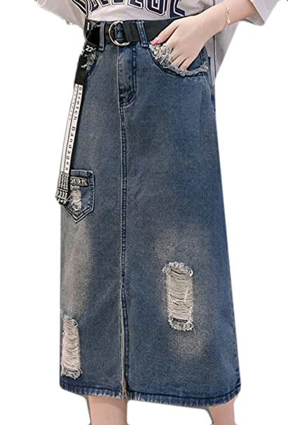 ed3c0d4307 Cromoncent Womens High Waist Slit Front Ripped Hole Belted Denim Skirt at  Amazon Women's Clothing store:
