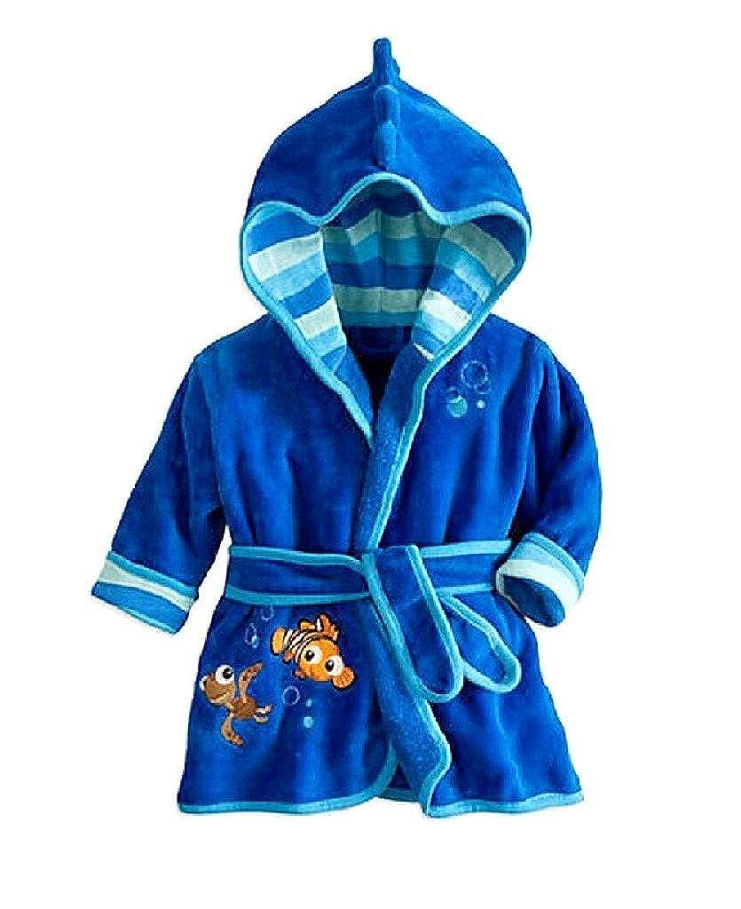 EVRYLON Nemo Blu Vestaglia Pesce Accappatoio Camera Notte Pigiamino Bambino Morbido Pile con Cappello Personaggi Ottima Idea Regalo