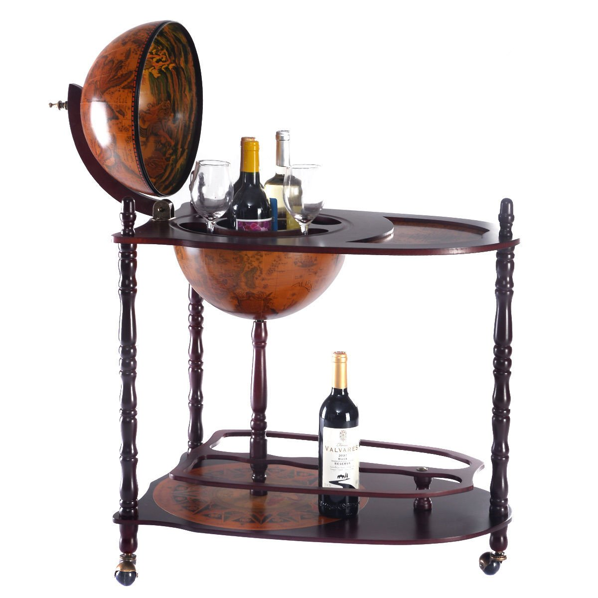 Antique Style 16th Century Italian Rack 34 Inch High Wood Globe Wine Liquor Bar Stand with Bottle Shelf A Unique Outlook Will Bring Highlight To Your Lifestyle