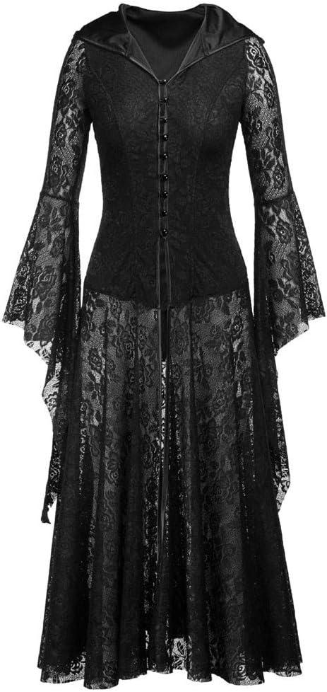 Fossenfeliz Disfraz de Reina Gótico Elegante - Vestido de Mujeres Halloween Realista - Falda Larga de Diosa del Temperamento de Fiesta de Mascarada