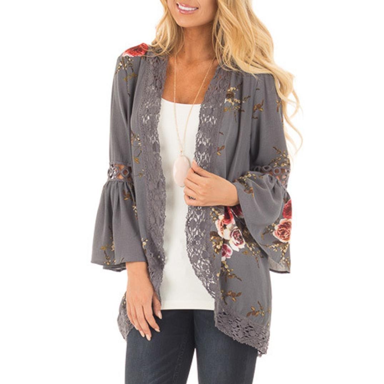 Chaqueta con estampado floral para mujer, apertura frontal con encaje, chaqueta kimono, estilo informal holgado large gris: Amazon.es: Hogar