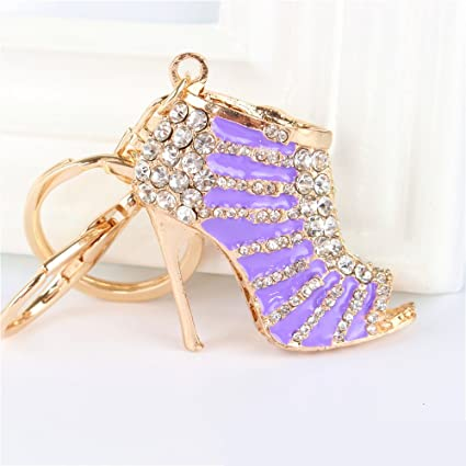 c8c65416adec JewelBeauty Cute Lovely High Heeled Shoes Heels Rhinestone Crystal Keychain  Charm Pendent Beautiful Accessories Best Gift