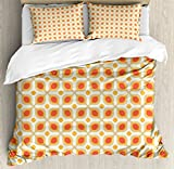 Geometric Duvet Cover Set by Ambesonne, Linked Bold Geometric Shapes 70s Vintage Style Minimalist Pattern Boho Home Decor, 3 Piece Bedding Set with Pillow Shams, Queen / Full, Orange Cream