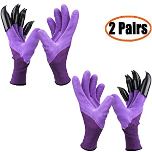 Garden Genie Gloves with Claws(2019 Upgrade), Waterproof and Breathable Garden Gloves for Digging Planting, Best Gardening Gifts for Women and Men (Purple 2 Pairs)