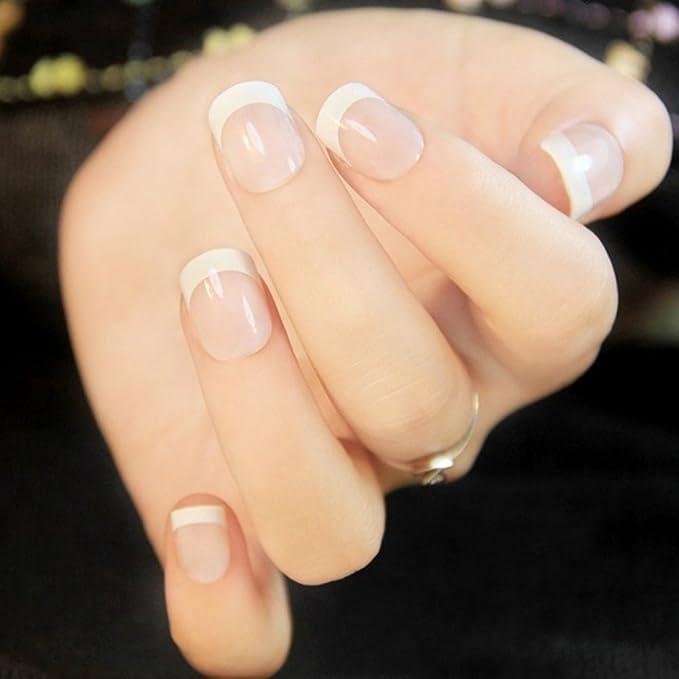 24 puntas de uñas francesas de dedo natural falsas de uñas falsas arte cubierta manicura: Amazon.es: Belleza