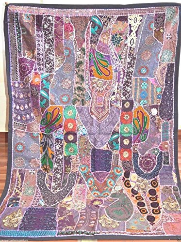 Wall Hanging Vintage Sari Patchwork Hand Embroidered Beaded Tapestry Throw WG 16