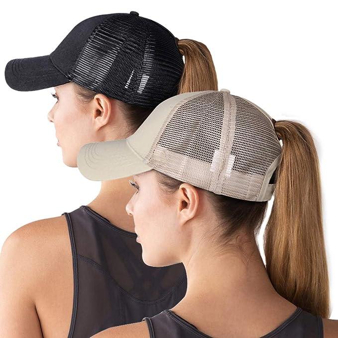 81c21db7 ZOORON High Ponytail Baseball Hat Cap for Women [2 Pack], Messy Bun ...
