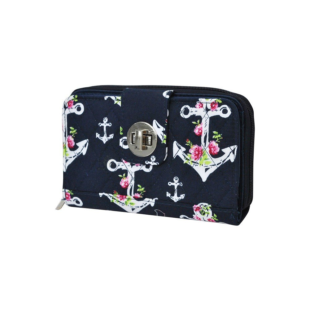 Rose Anchor NGIL Quilted Twist Lock Wallet