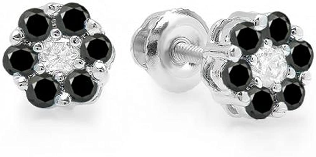Black Diamond Solitaire Flower Studs Earrings Round Cut 10K White Gold 0.20 CT